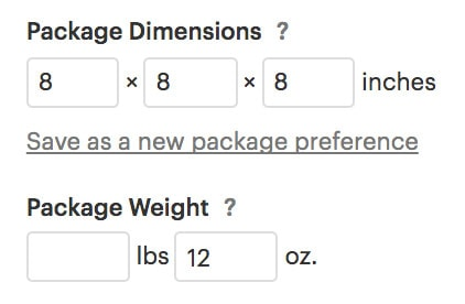 Package Dimensions and Weight