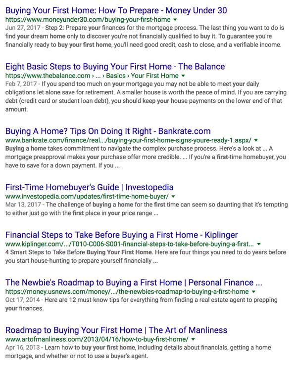 Buying Your First Home Web Search