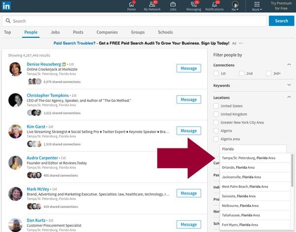 LinkedIn Location Search