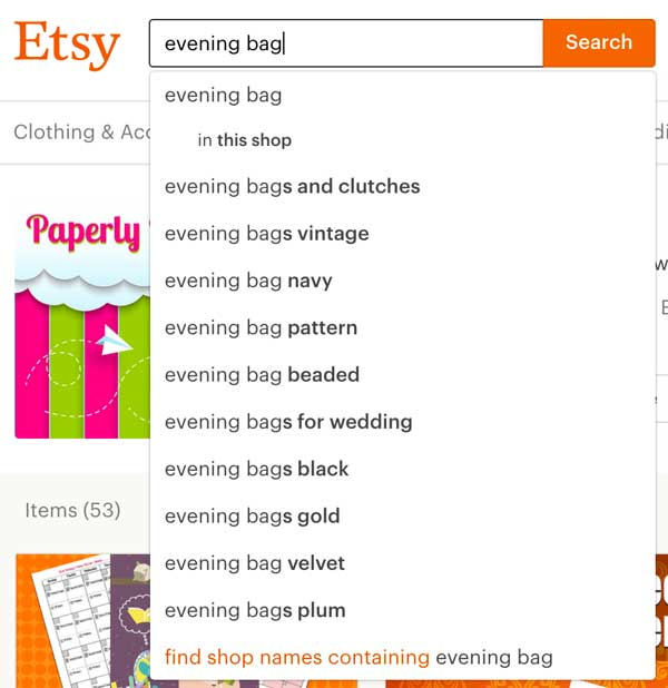Evening Bags Search Etsy SEO - Vintage Sellers