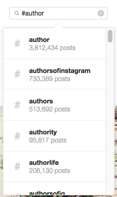 Author Search Instagram Hashtags