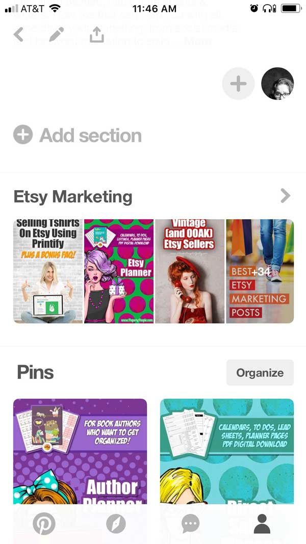 Pinterest Sections On Mobile