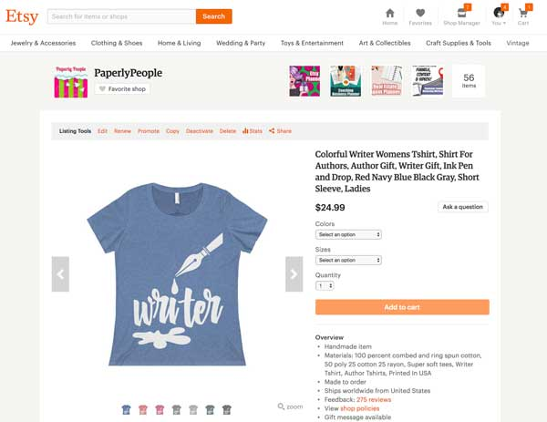 Printify Writer Tshirt - Paperly People Etsy Store