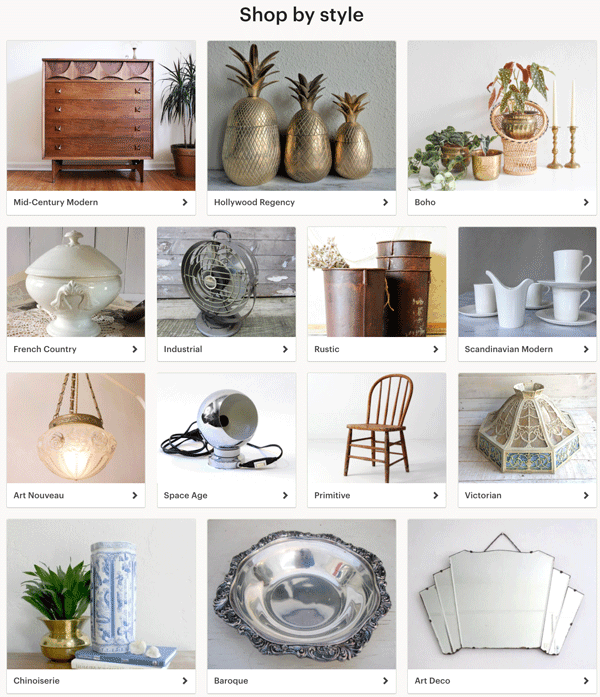 Shop By Style - Etsy Vintage Newsletter