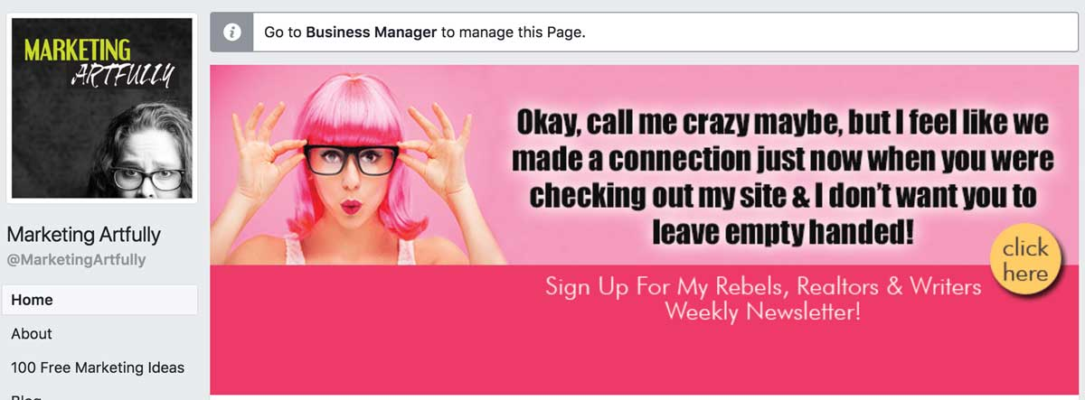 Marketing Artfully Call To Action Button on my Facebook Business Page Header