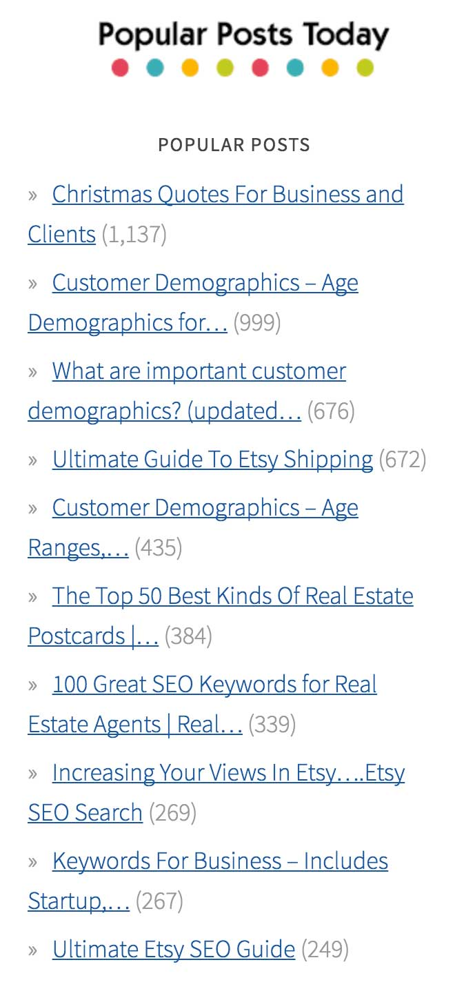 Top Post Popular Posts Plugin - On my website