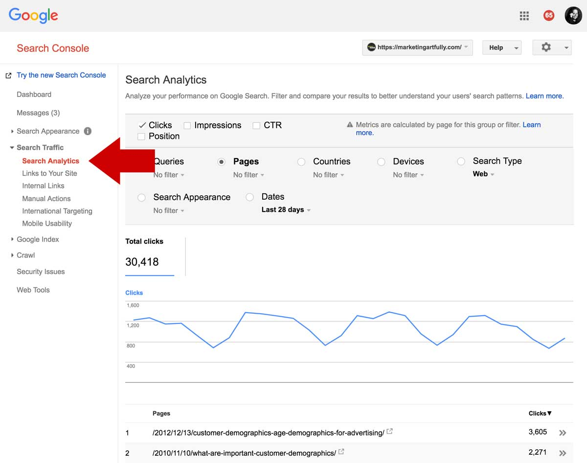 Using The Google Search Console To Determine Rankings