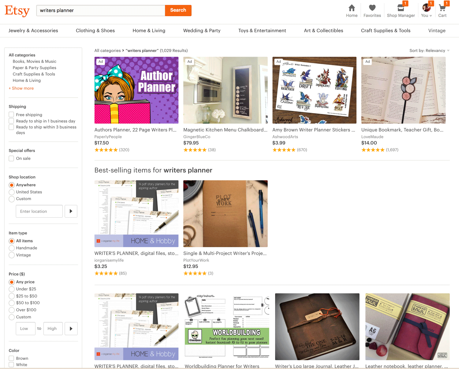 Writers Planner Etsy SEO Results Page