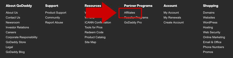 Godaddy Affiliate Program Link