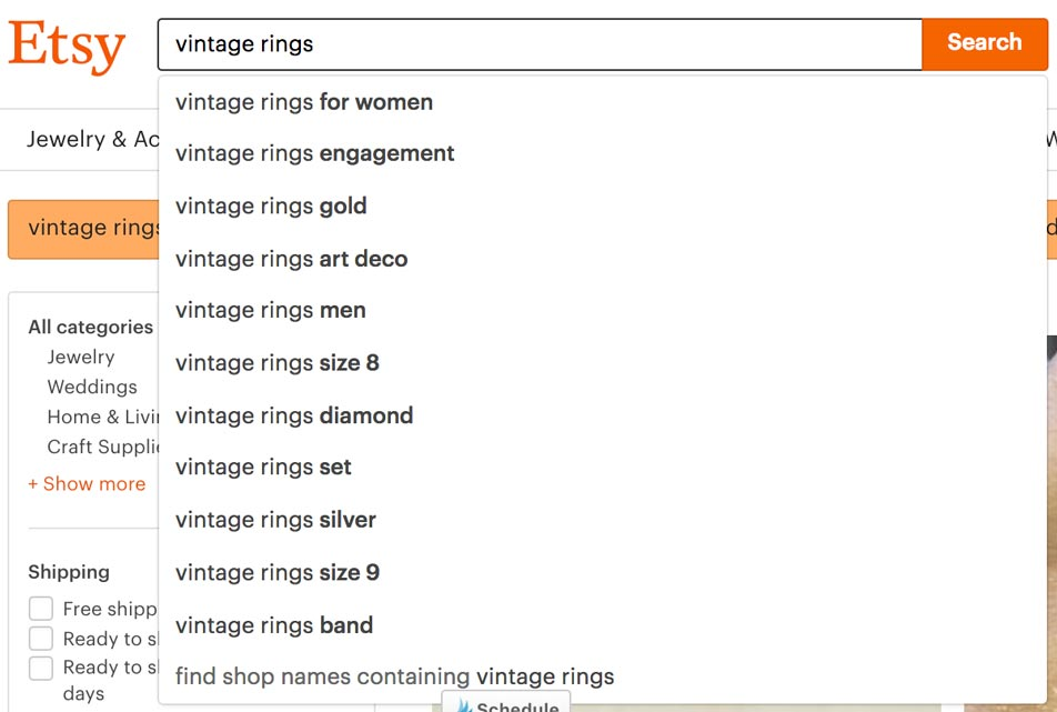 Vintage Rings Etsy Search