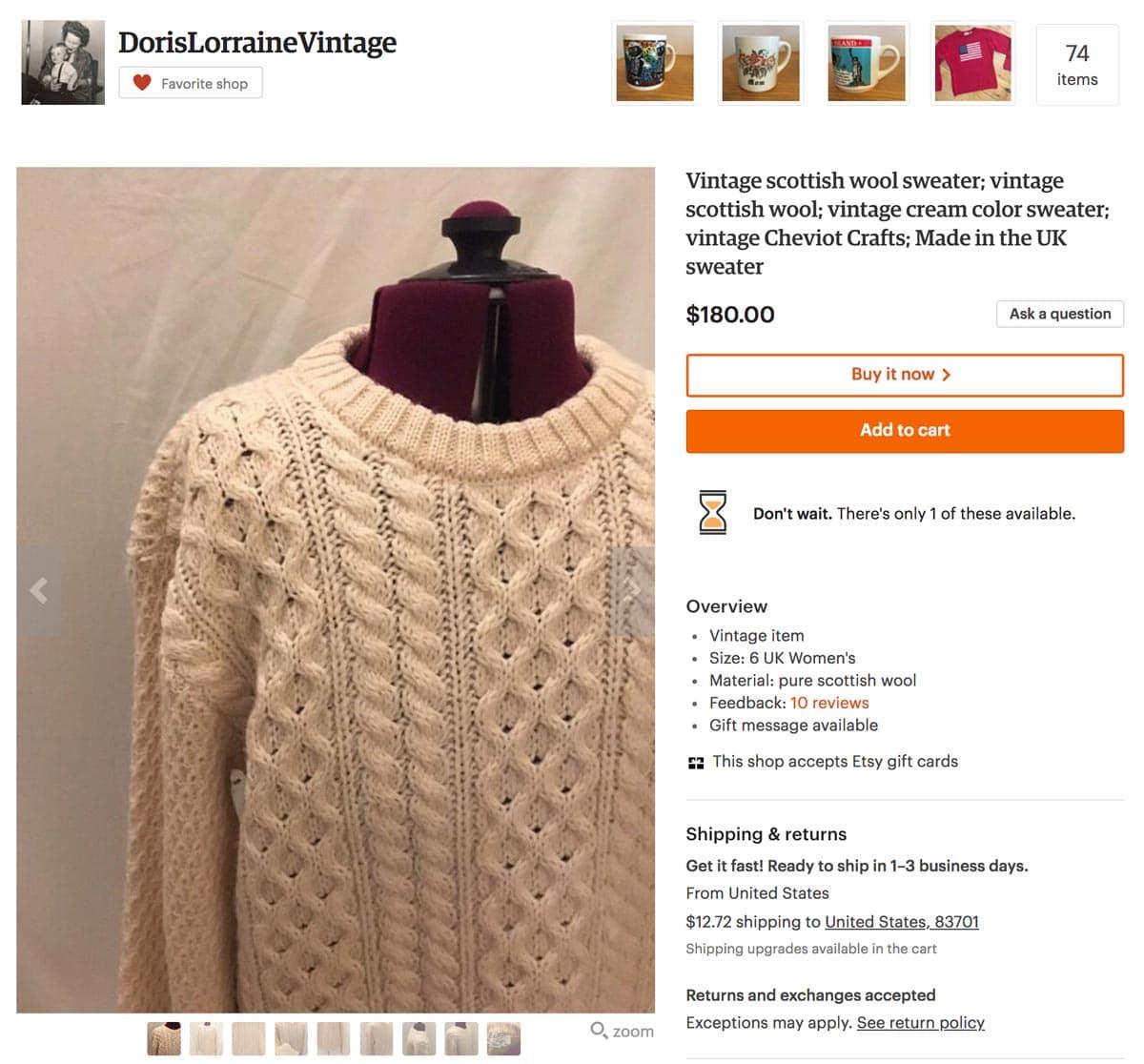 Vintage Scottish Sweater - Etsy SEO Example