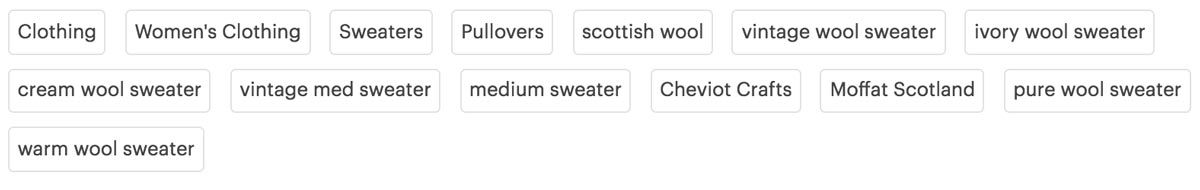Wool Sweater Etsy SEO Example