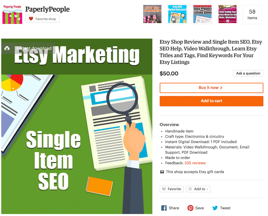 Single Item SEO Product
