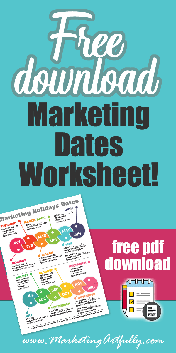 Free download... Marketing dates worksheet. Print it out to keep track of the major holidays during the year. Use these tips and ideas to spark your creative marketing ideas for your ecommerce and products. #marketing #infographic