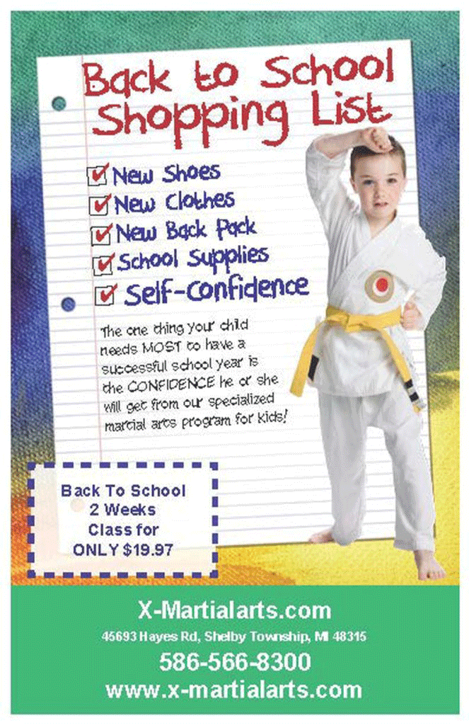 Back to school karate ad