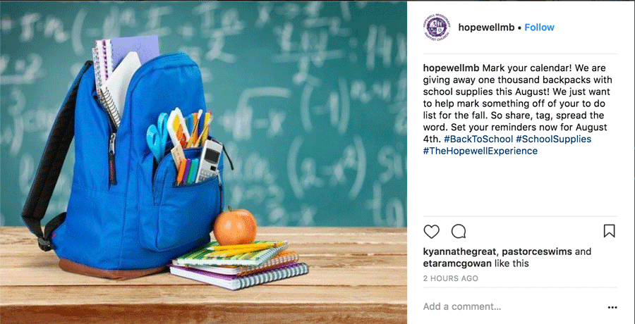 Backpack Giveaway Instagram Post