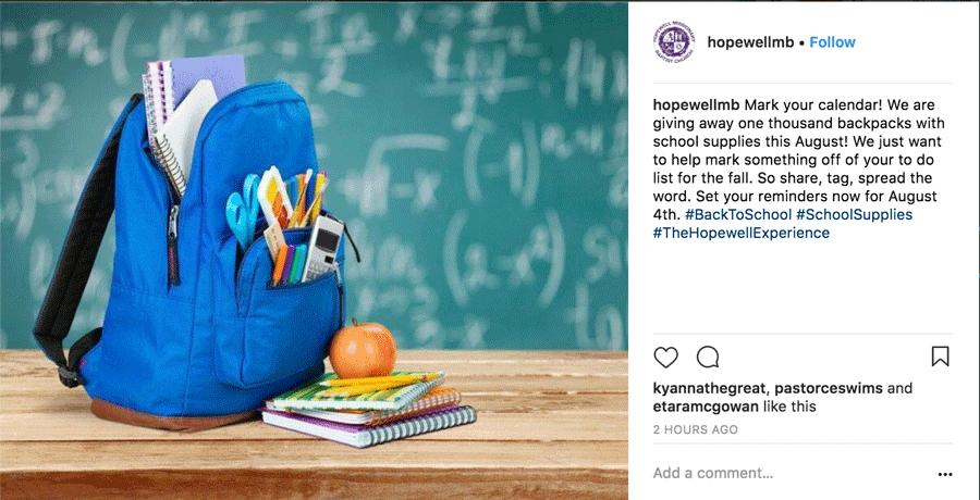 Backpack Giveaway Instagram Post