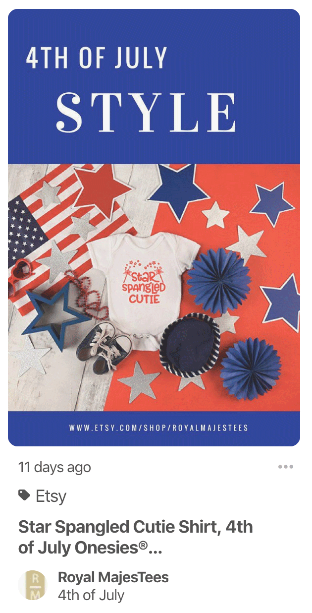 Etsy Store Independence Day Pin