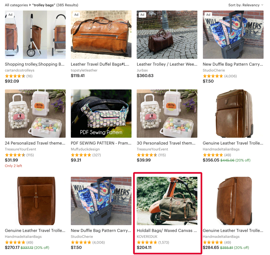 Ranking for trolley bags in Etsy search