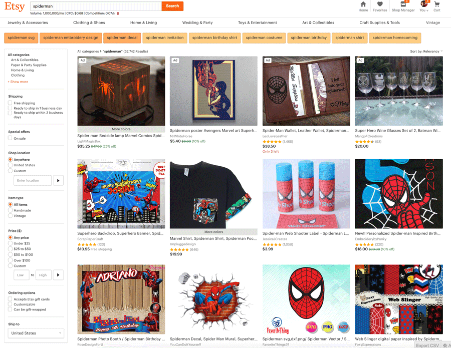 Spiderman Listings On Etsy