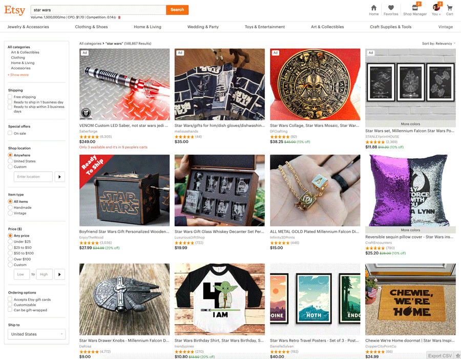 Star Wars Listings On Etsy