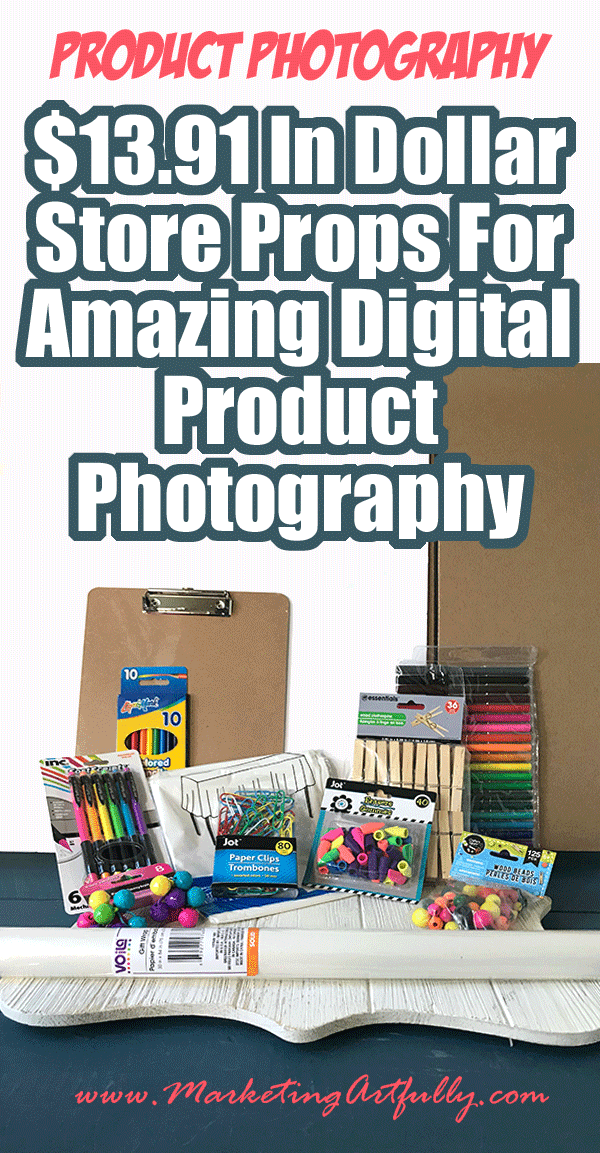 How I Used $13.91 Props From The Dollar Store To Take Creative Digital Product Photography... As a digital product creator it can sometimes be hard to find cute ways to style my products for selling on Etsy, Shopify or even on my own site. I am going to show you how to use $13.91 worth of products from the dollar store to make creative, fun and colorful digital product pictures!
