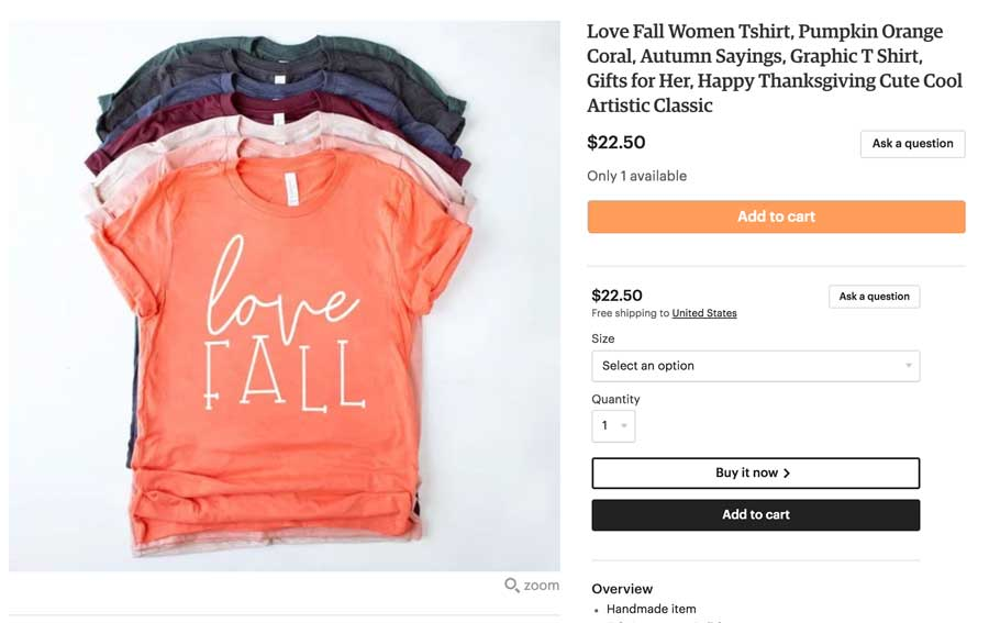 Fully SEO Etsy Tshirt Example