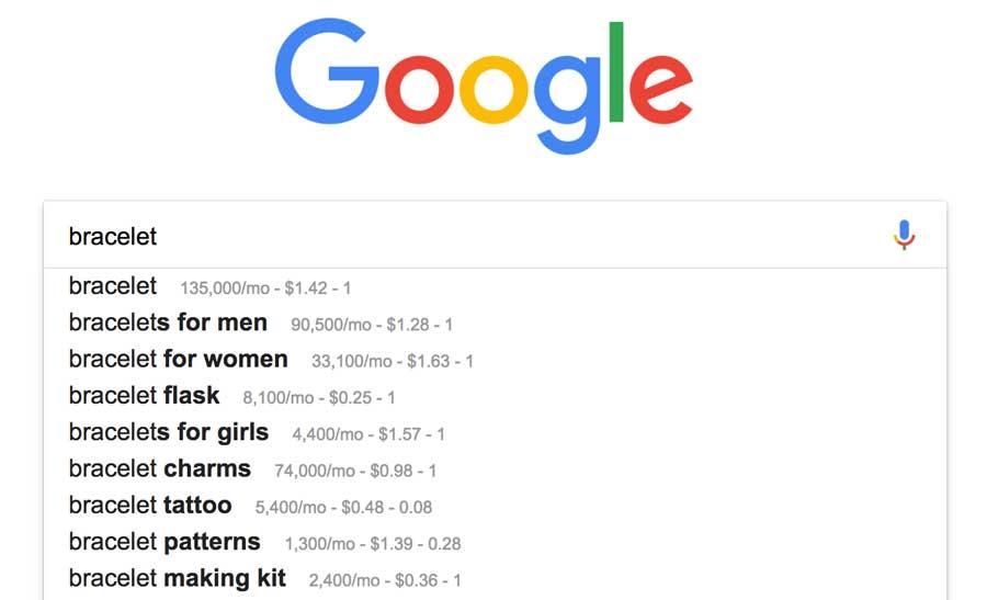 Google Bracelet Search