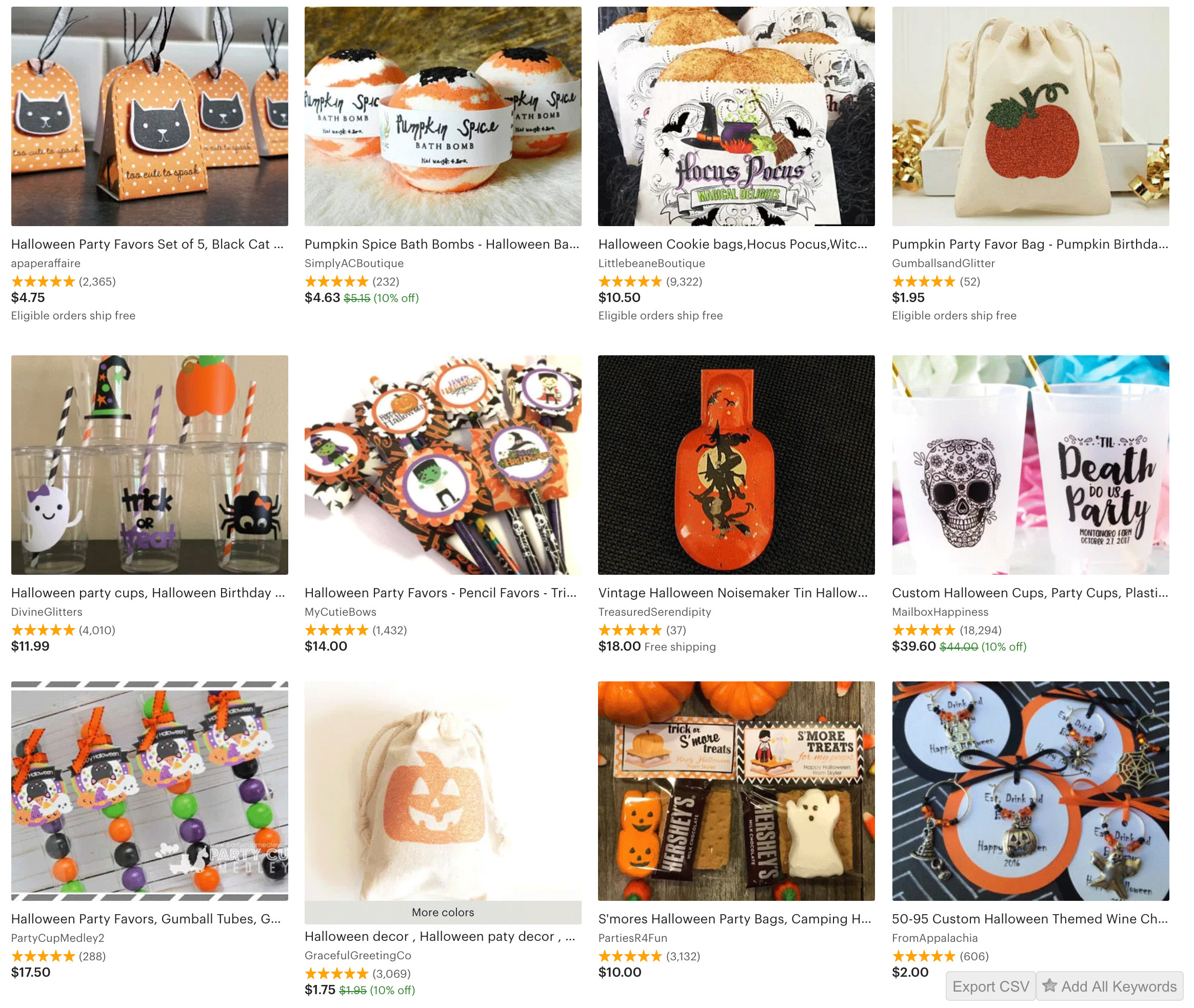 halloween party favors on etsy