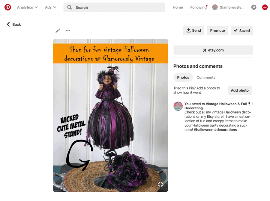 Halloween Pinterest Pin To Advertise Your Shop