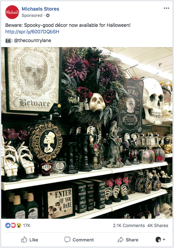 Michaels Halloween Facebook Ad - Augus 2018