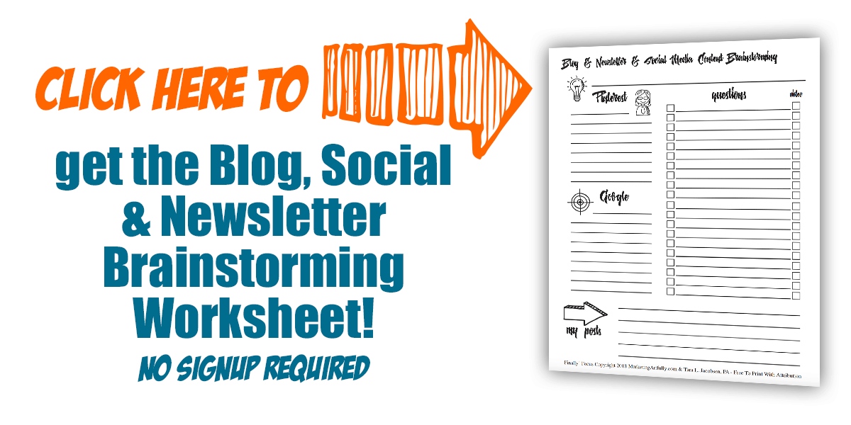 Free Blogging, Social Media and Newsletter Brainstorming Worksheet