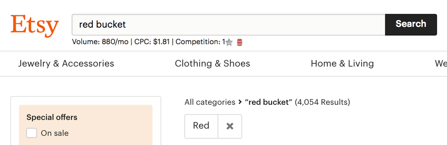 Bucket Red Attribute Tag