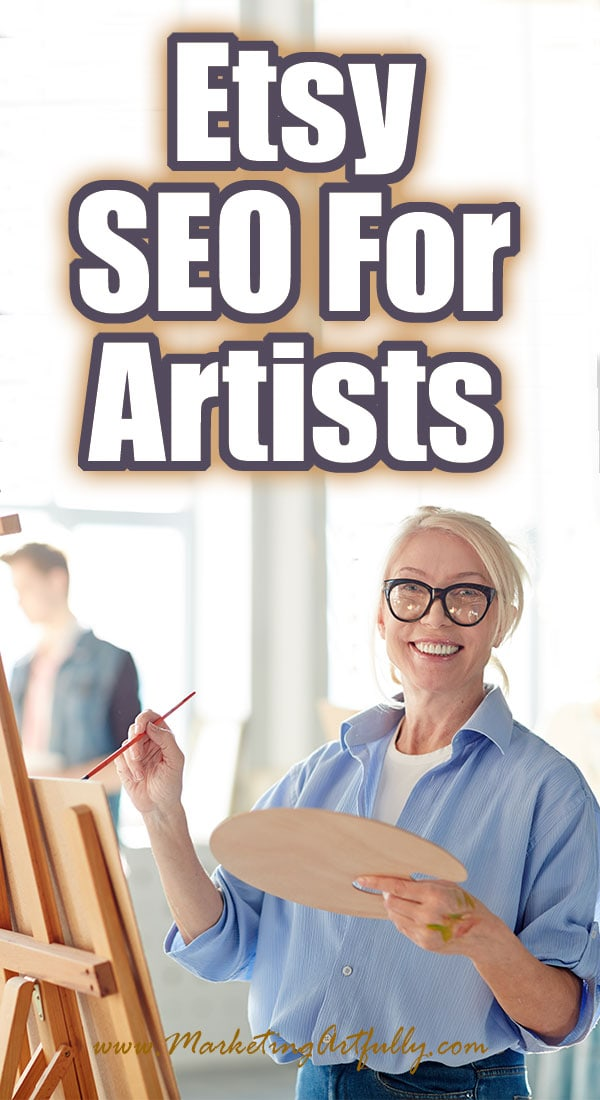 Etsy SEO For Artists... Easy tips and ideas for doing your Etsy SEO for your art. If all you want to do is paint or draw or sculpt, not do computer work, this post will help you learn to do your listings fast! Great for helping Etsy shop owners who are artists or creative types sell their artwork. #etsyseller #etsyshop