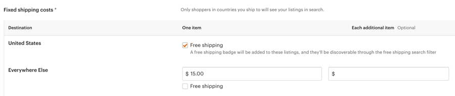 Etsy Shipping Free US - Reduced International