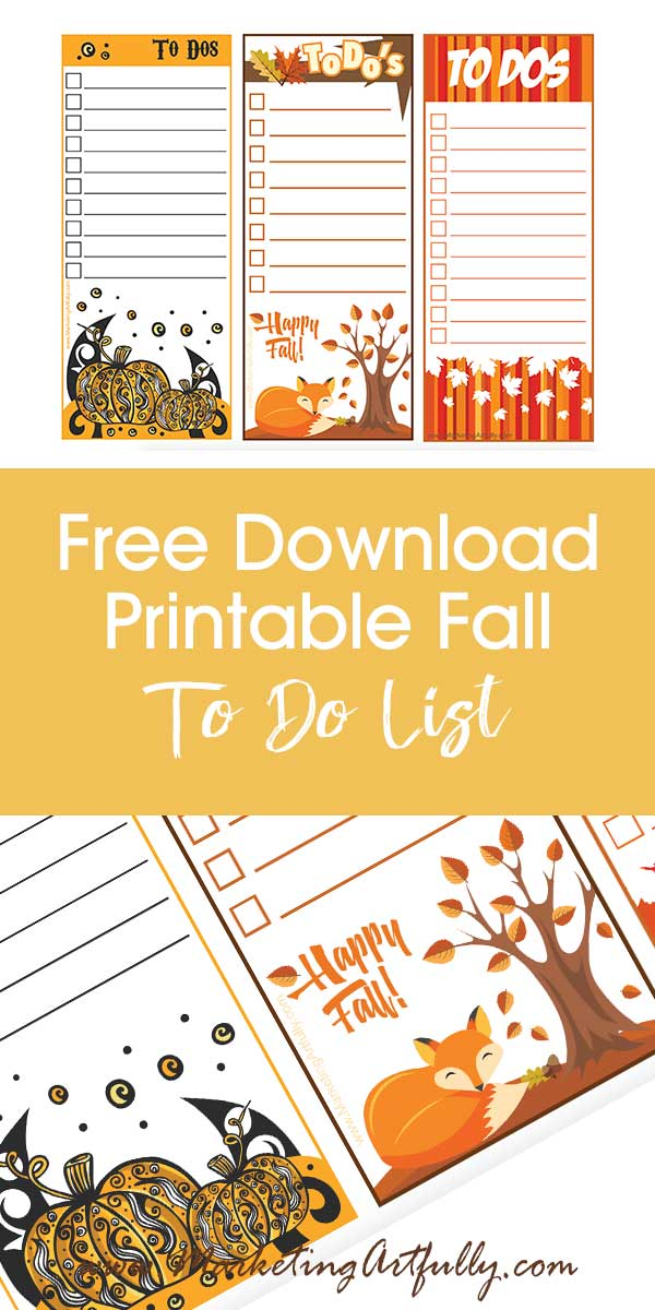 Free Printables - Fun and Cute Fall To Do List... Looking for a fun way to get organized this Autumn? Check out this free digital download printable to do lists!