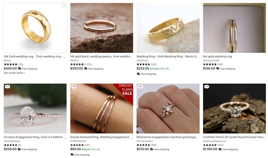 Gold Wedding Ring Etsy Search