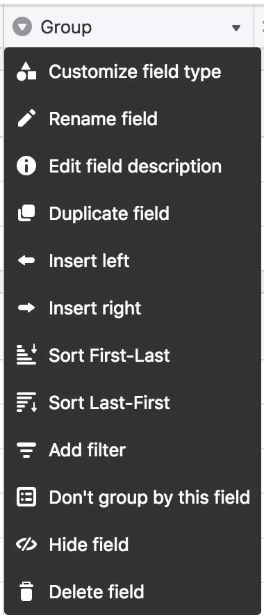 Group Customize Field Dropdown