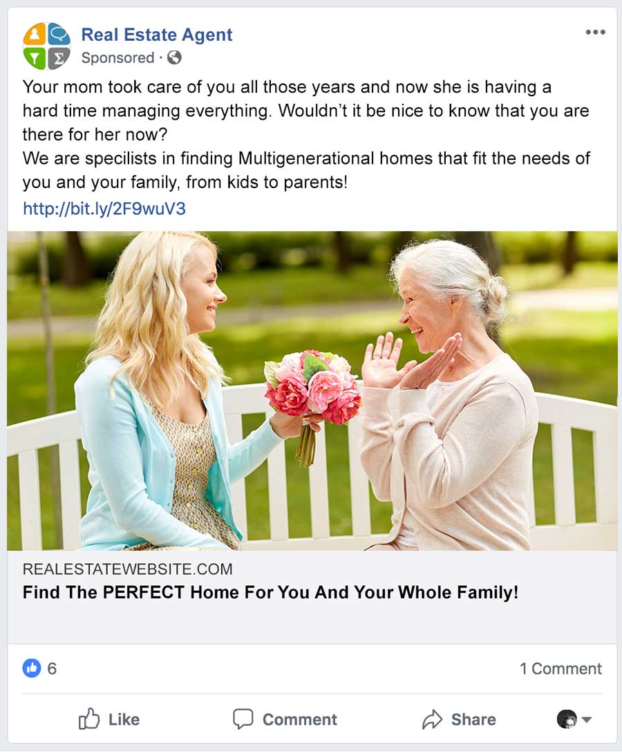 Mocked Up Real Estate Facebook Ad
