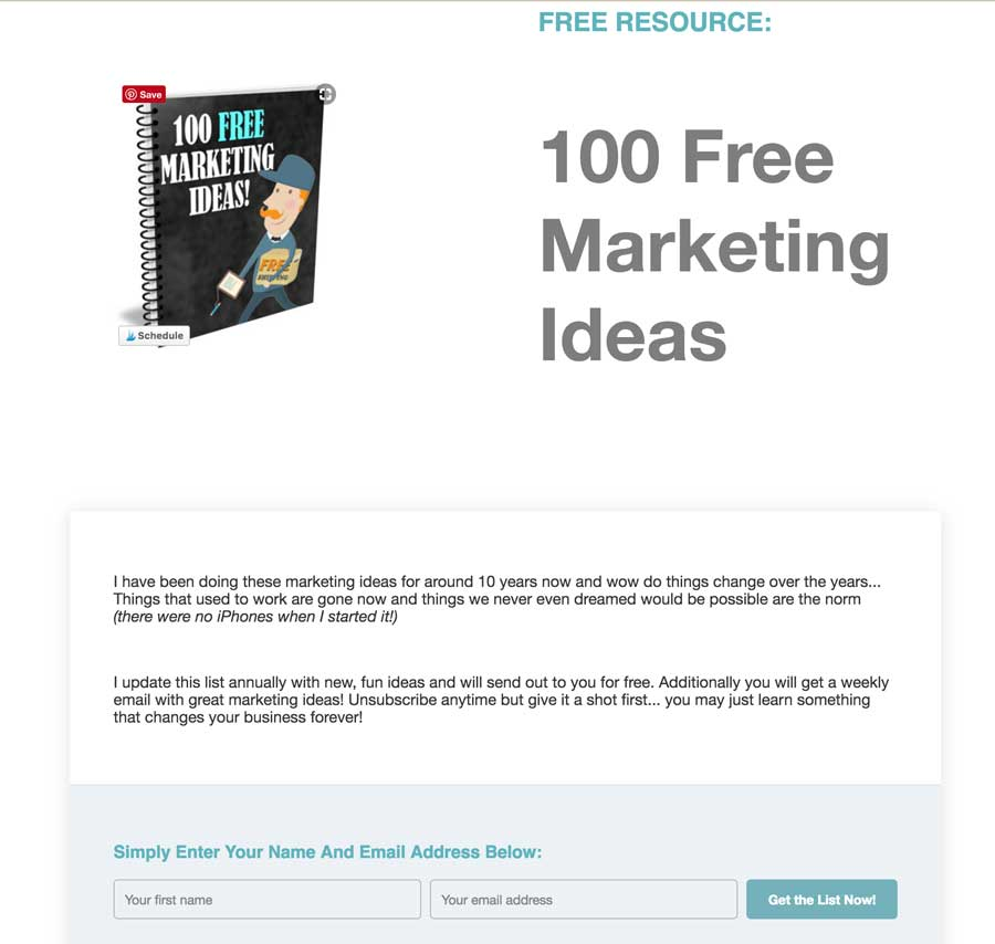 100 Free Marketing Ideas Landing Page