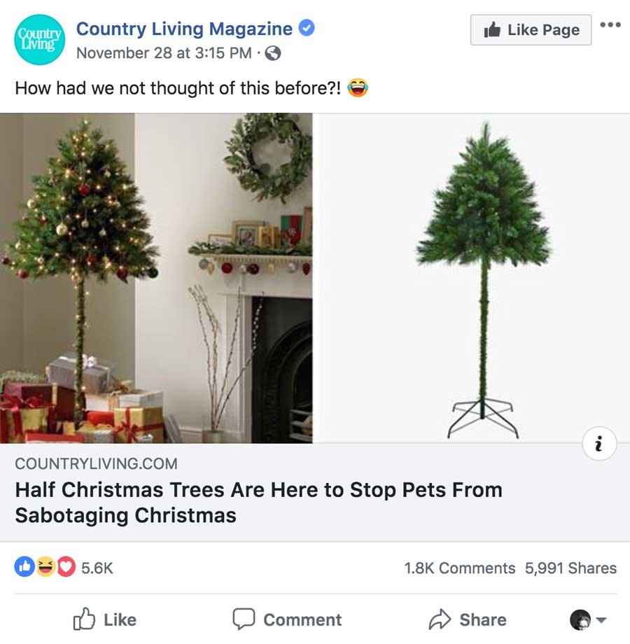 Country Living Half Christmas Tree Post