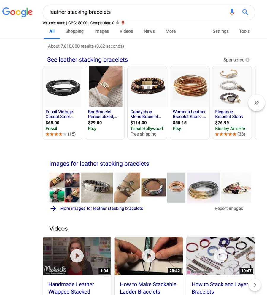Google Search Results Ecommerce Product