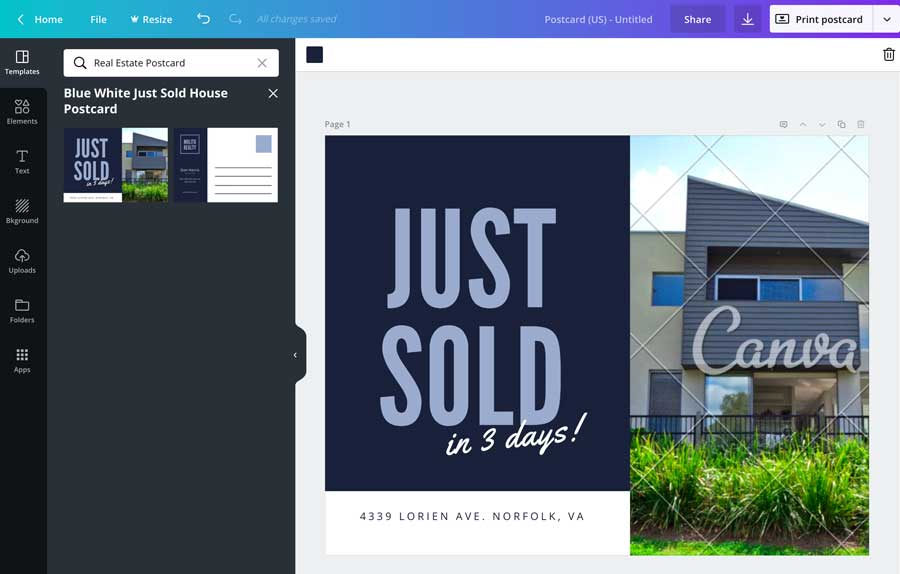 Just Sold Postcard Templates Canva