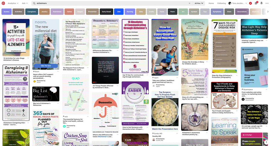 Alzheimers and Dementia Pinterest Search