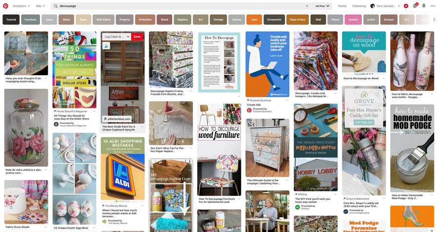 Decoupage Pinterest Search