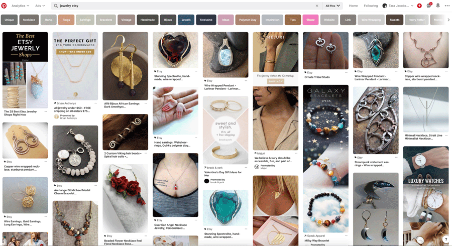 Etsy Jewelry Pinterest Search