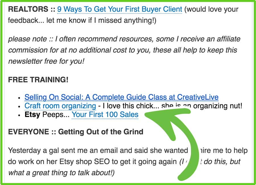 Email newsletters for affiliate links