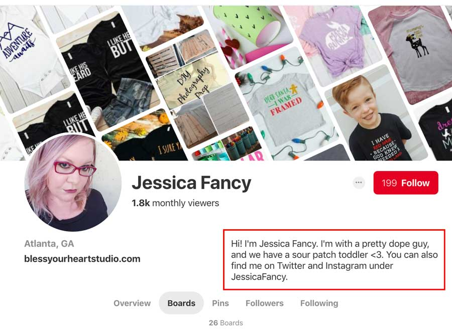 Jessica Fancy Pinterest Profile