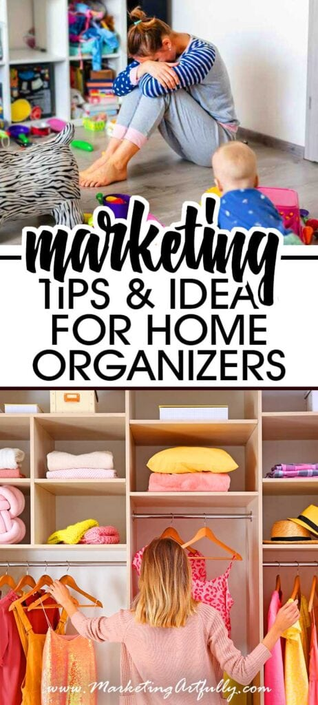 Marketing Tips and Ideas For Home Organizers and Cleaners - When you are starting a home cleaning or organizing business, marketing can be very confusing! Here are some easy to follow free (mostly) marketing ideas to get more clients. #homeorganizer #housecleaner #marketing