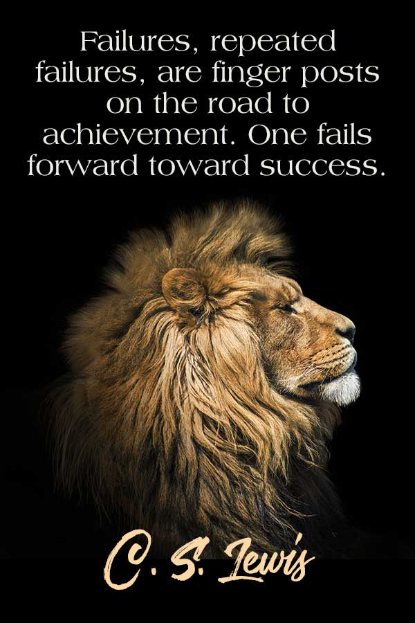 Failures, repeated failures, are finger posts on the road to achievement. One fails forward toward success. CS Lewis